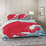 YUAZHOQI Japanese Wave 3 Pieces Bedding Duvet Cover Set Queen, Big Red Sun Setting Scenery Tropical...