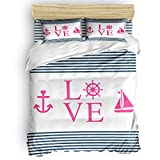 SAYING Bedding Duvet Cover Set Nautical Anchor Pirate Ship with Parallel Stripes Pattern On Bedding...