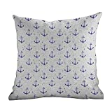 Hidden Zippered Pillowcase Anchor,Aquarelle Anchor Motifs with Paint Splashes Nautical Monochrome...