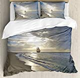 Ambesonne Nautical Duvet Cover Set, Sailing Ship Close to Sandy Beach in Moody Sunset Paradise...