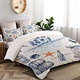 TARTINY Duvet Cover Set, Anchor Bottle and Map Nautical Holiday Adventure with Tropical Island,...