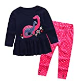 Coralup Little Girls 2-Piece T-Shirt & Pant Set(Lovely Dinosaur) G932(3-4Y,Navy)