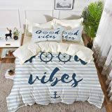 Luoquan 3 Piece Bedding Set,Good Vibes,Nautical Design with Stripes Brushstrokes Steering Wheels...