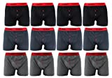 Mens Boxers (12 Pack) Classic soft rib cotton Boxers with Red waistband (Large)