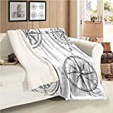 Compass Baby Blanket Throw Size Seafaring Design Set of Windroses in Black and White Sailing Away...