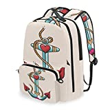 DUILLY Colorful Anchor Design With Rope And Heart Motifs Traditional Nautical Arrangement Detachable...