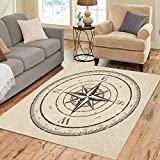 36X24 inch Area Rug Brown Nautical Vintage Compass Old Star Woodcut Drawing Sailing Floor Rugs...