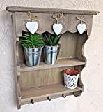 Oscar's Boutique Small Shabby Chic Wall Hanging Shelf Display Unit Storage Shelves Hooks