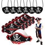 CHIFOOM 6pcs Pirate Hats Costume Skull Print Pirate Hat with 6pcs Black Pirate Eye Patches for Kids...