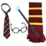 VIROSA 4PC Wizard School Boy Fancy Dress Costume Accessory   Includes Tie, Glasses, Magic Wand with...