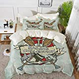bedding - Duvet Cover Set,Nautical Decor,Sailing Collection Yacht Club Bell Antiques Historical...