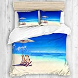 Zozun Duvet Cover, Canopy Under Sunbeams Nautical Design for Summer Season and Beach Houses Image...