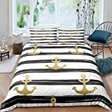 Ahooseso® 3D Duvet Cover For Children Double 200 X 200 Cm Patterned Nautical Gold Anchor Printed...