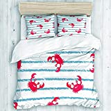 FFFriend-Shipp-Shop Cover Set Pattern Blue Striped Cute Watercolor Crabs Wildlife Baby Red Kids...
