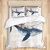 DAOPUDA Washed Cotton Duvet Cover Set,Whale and Lighthouse Blue Red Cartoon Marine Animal Helm...