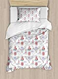 HUNKKY Nautical Duvet Cover Set, Rope Boats Waves Ocean Theme Message in a Bottle Soft Tones...