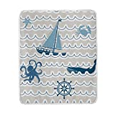 Emoya Bedding Flannel Throw Blanket Nautical Sea Wave Carb Octopus Seaship Plush Microfiber Fabric -...