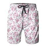 Men's Big and Tall Swim Trunks Beachwear Drawstring Summer Holiday,Pink Roses with Grey Leaves...