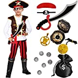 Tacobear Pirate Costume for Kids Fancy Dress Up with Pirate Accessories Pirate Hat Eyepatch Dagger...