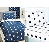 Price Right Home Navy Blue And White Stars Single Duvet Cover And Pillowcase Set & Navy Blue And...