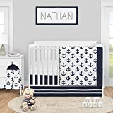 Sweet Jojo Designs Navy Blue White Anchors Baby Boy Girl Nursery Crib Bedding Set - 4 Pieces -...