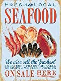 Seafood, Fresh Local Food, Cafe Restaurant Fish Seaside Large Metal/Steel Wall Sign