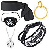Haichen Captain Pirate Costume Accessory Set Head Tie Scarf Wrap Bandana Pirate Eye Patch Ear Ring...