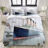 Duvet Cover,Nautical Retro Classic Titanic Ship Ocean Scenery Watercolor Art,Bedding Set Ultra Comfy...