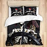 ALLMILL Duvet Cover With Zipper Closure,Funny Cat Pirate Ship Horror Cat Night Moon Nautical,Brushed...