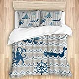 Duvet Cover,Nautical Wave Pattern with Nautical Elements Icons Octopus Crab Starfish and...