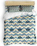 Duvet Cover Set, 3 Piece Nautical Wheel Ocean Wave Chevron Navy Bedding Set - 1 Quilt Cover 2 Pillow...