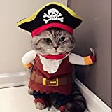 Idepet Caribbean Pirate Cat Costume Funny Dog Pet Clothes Suit Corsair Dressing up Party Apparel...