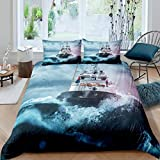 Loussiesd Boys Nautical Decor Duvet Cover For Kids Adults Sailboat Printed Comforter Cover Ocean...