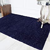 The Rug House Ontario Navy Blue Purple Soft Touch Easy Clean Living Room Shaggy Rugs 60cm x 110cm
