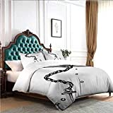 Hiiiman Bed Bedding Nautical Themed Monochrome Illustration with Chains and Sinking Anchor Naval...
