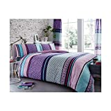 Lions Charter Stripe Duvet Quilt Cover With Pillow Case | Poly-Cotton | Reversible | Printed | Easy...