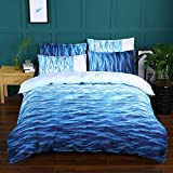 Luofanfei Sea Duvet Cover King Size, Blue Ocean Waves Comforter Cover Soft Lightweight Microfiber-1...