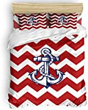 Duvet Cover Set, 3 Piece Nautical Anchor Zig Zag Chevron Red White Bedding Set - 1 Quilt Cover 2...
