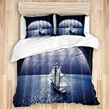 FAKAINU Washed Cotton Duvet Cover Set,Pretty Landscape Silver White Bright Moon and Nautical Ship...