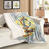 Nautical Custom Blanket Lets Sail Quote Marine Autumn And Winter Thick Blanket Twin Size