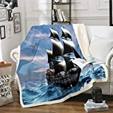 Nautical Decor Fuzzy Blanket Sailboat Printed Throw Blanket for Crib Bed Couch Teens Ultra Soft...