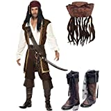 Adult Mens High Seas Pirate Fancy Dress Costume + Hat & Braids + Distressed Boot Covers - Caribbean...