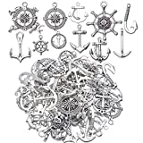Nautical Charms Collection, 100g (about 50pcs) Metal Alloy Nautical Anchor Charms Rudder Helm Ship...