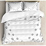 Paw Heart Shaped Frame with Animal Marks Pet Track on Plain Graphic, 3 Piece Bedding Set 2 Pillow...