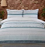 Sleepdown Aztec Geo Stripe Teal Blue Natural Boho Reversible Soft Easy Care Duvet Cover Quilt...