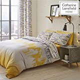 Catherine Lansfield City Scape Easy Care Single Duvet Set Ochre