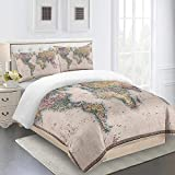 Gzmt Single Bed Duvet Cover Nautical Chart Bedding Set of 3 with Zipper Closure + 2 Pillowcases -...