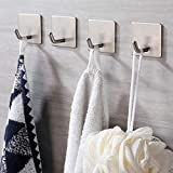 JS Self Adhesive Hooks, Stick on Hooks Holder for Tea Towel Robe Coat Kitchen Bathrooms,Stainless...