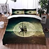Mingdao bedding - Duvet Cover Set, Nautical Rustic Pirate Ship in The Sea Historic Surround The...