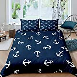 Loussiesd Nautical Bedding Set Ocean Anchor Decor Duvet Cover Sailor Pirate Captain Comforter Cover...